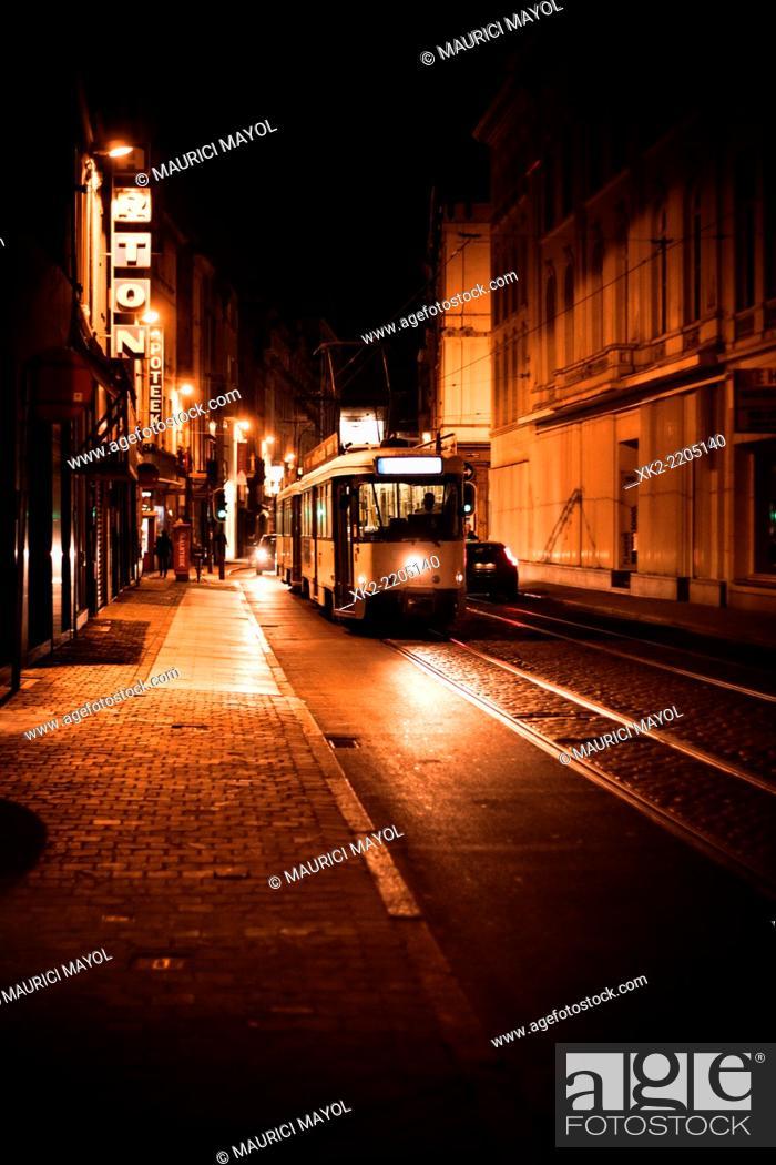 Stock Photo: Public transport till late hours, Antwerp, Belgium.