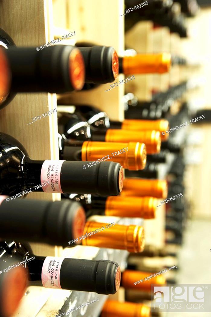 Stock Photo: Wine in rack.