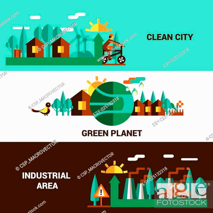 Stock Vector: Flat Horizontal Ecology Banners Set.