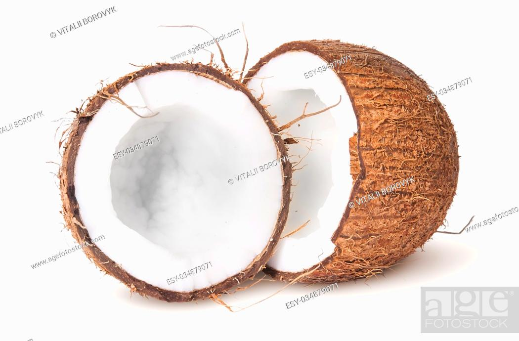 Stock Photo: Two halves of coconut isolated on white background.