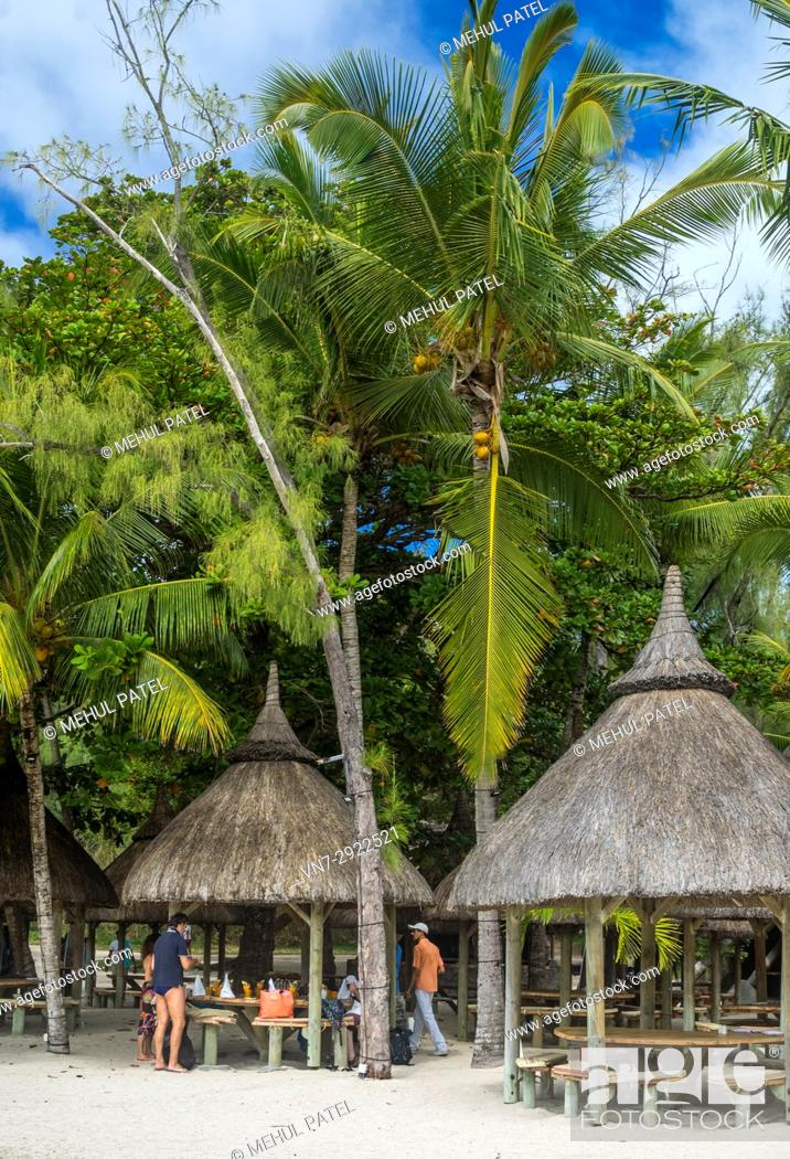 Stock Photo: Beach restaurant, Île aux Cerfs, Mauritius, Indian Ocean. Île aux Cerfs is a privately owned island near the east coast of Mauritius.