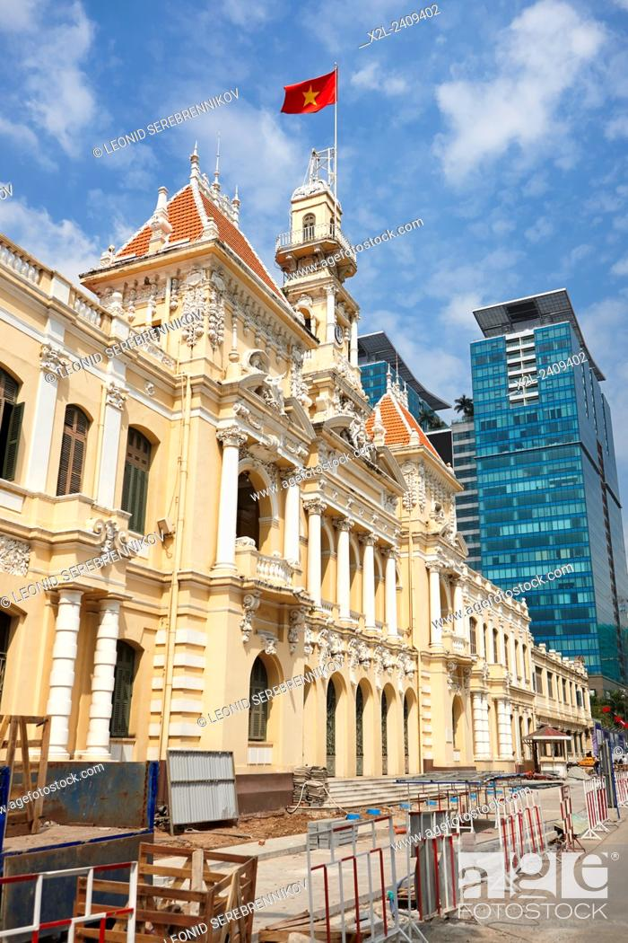 Stock Photo: People's Committee Building. Ho Chi Minh City, Vietnam.