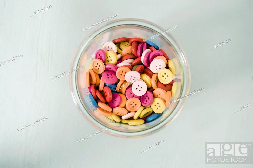 Stock Photo: Colored Buttons, Munich, Bavaria, Germany, Europe.