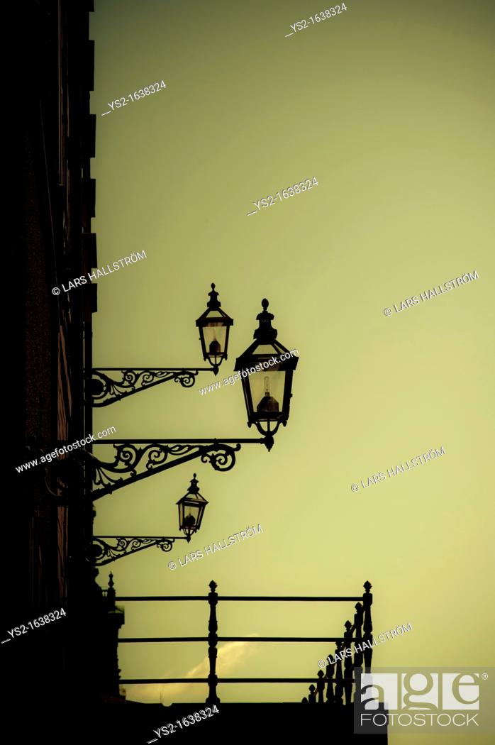 Stock Photo: Old-Fashioned Street Lights on building, Stockholm, Sweden.