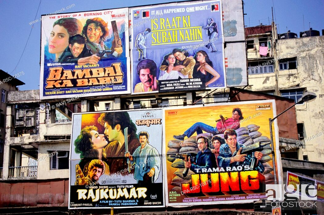 Bollywood film posters in Bombay Mumbai India, Stock Photo, Picture