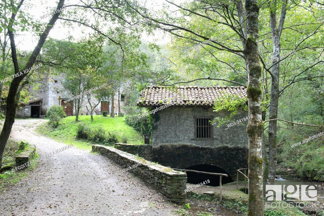 Stock Photo: Small watermill in Agorregi, Pagoeta Natural Park, Basque Country, Spain.