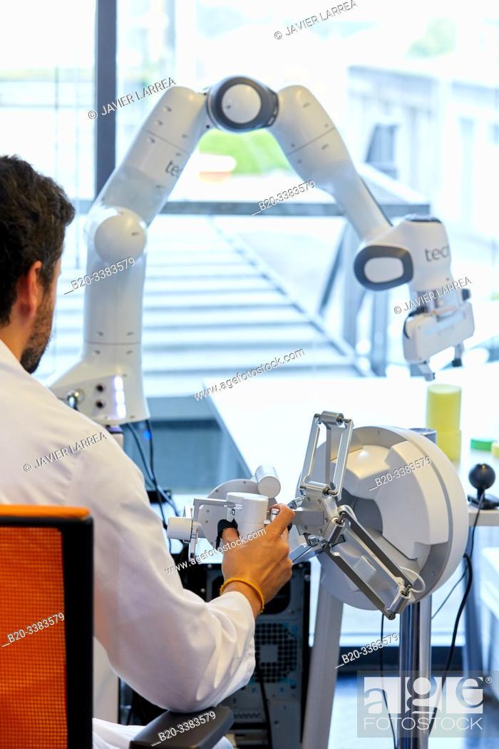 Stock Photo: Teleoperation robot for object manipulation, innovation in sanitary robotics, Unit of Health Technology, Technology Centre, Tecnalia Research & Innovation.