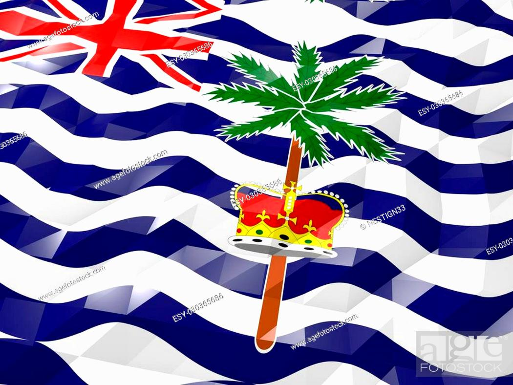 Stock Photo: Flag of British Indian Ocean Territory 3D Wallpaper Illustration, National Symbol, Low Polygonal Glossy Origami Style.