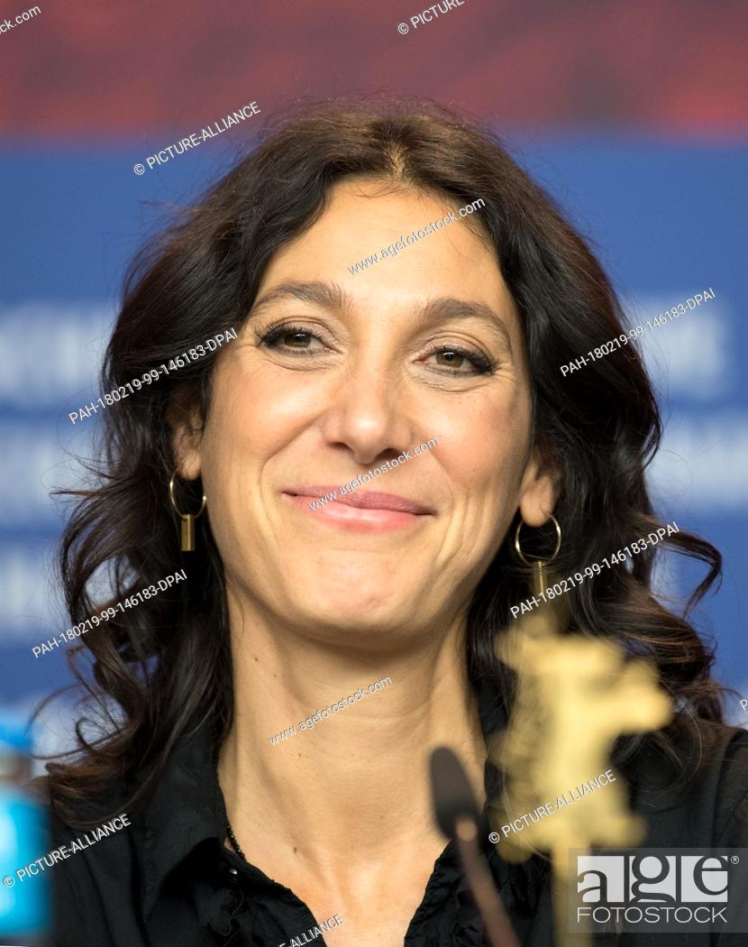 """Stock Photo: 19 February 2018, Germany, Berlin, Berlinale, Press Conference """"""""3 Tage in Quiberon"""""""", (""""""""3 Days in Quiberon""""""""). The director Emily Atef."""
