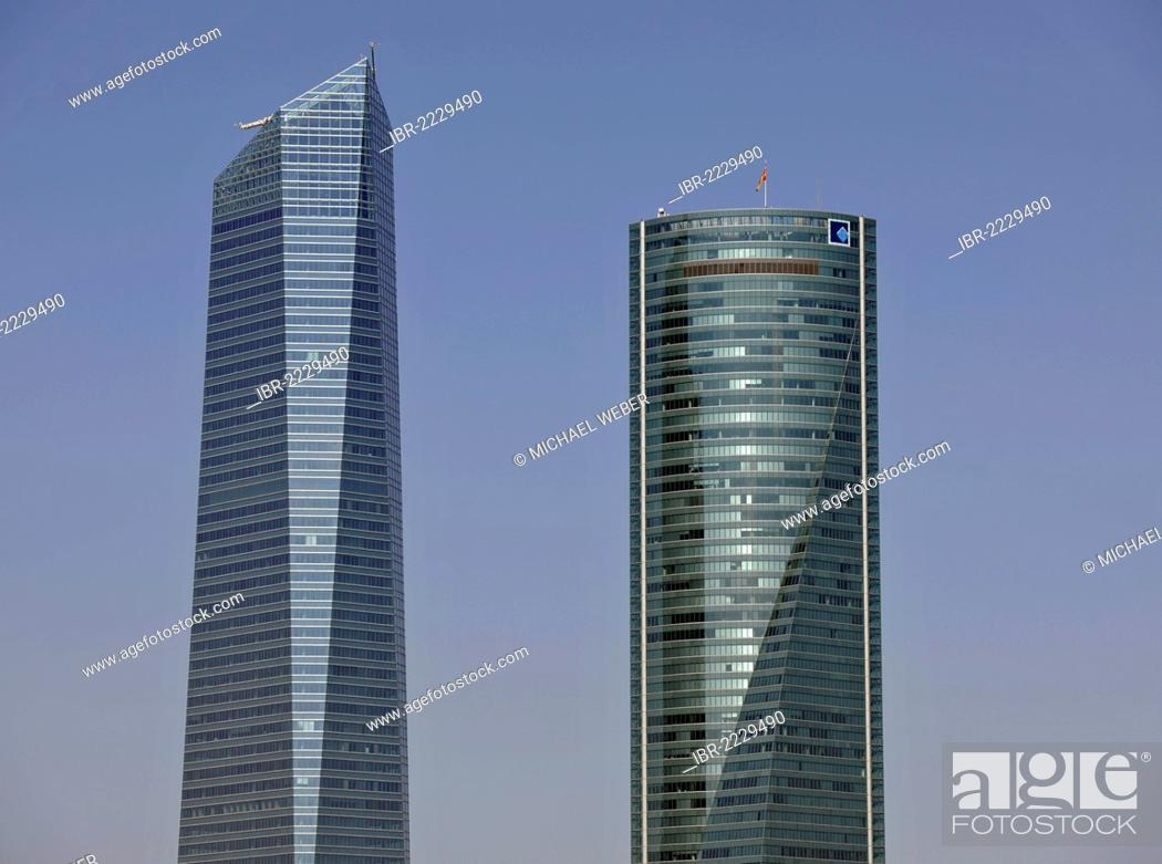 Stock Photo: Cuatro Torres Business Area, formerly the Madrid Arena, with four skyscrapers, here Torre de Cristal, Crystal Tower and Torre Espacio, Madrid, Spain, Europe.