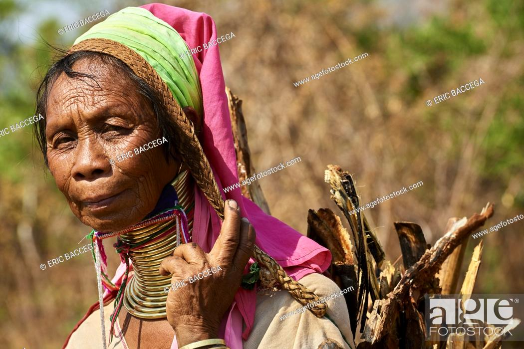 "Stock Photo: Kayan Lahwi woman with brass neck coils and traditional clothing carrying charcoal she has collected in the forest. The """"Long Neck"""" Kayan (also called Padaung."
