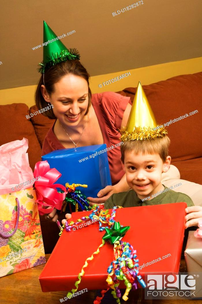 Stock Photo: Mother and son celebrating a birthday party.