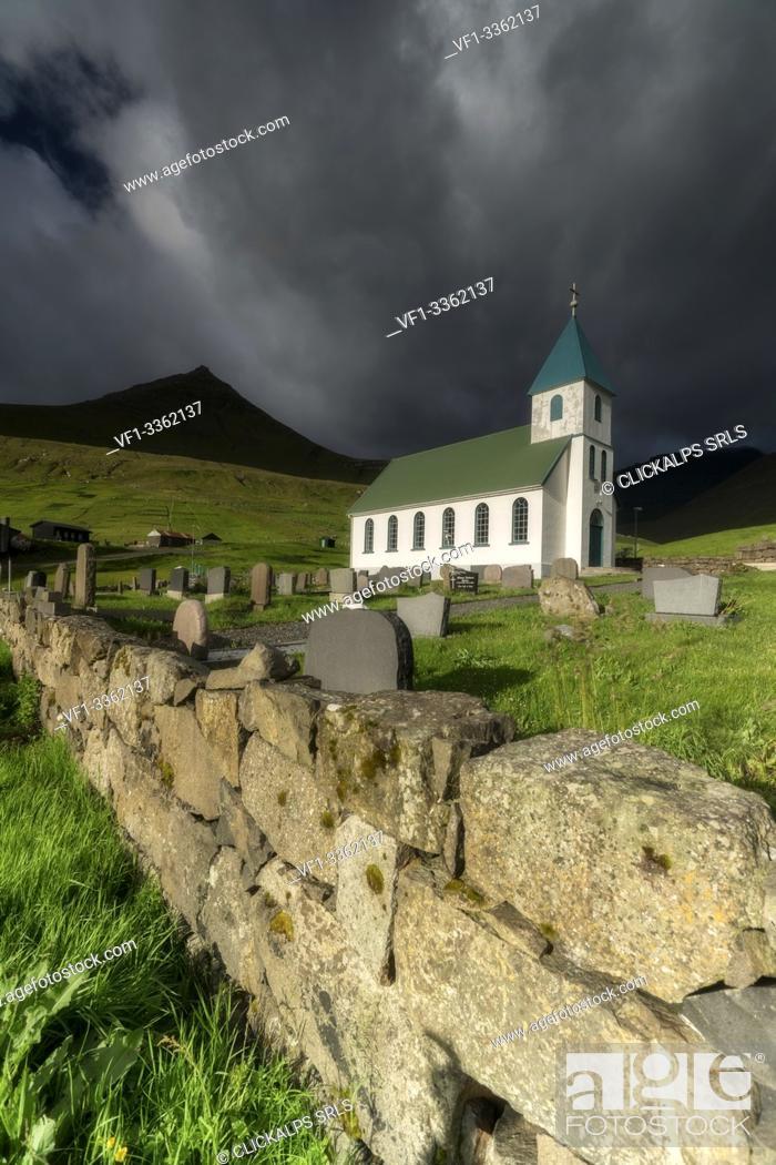 Stock Photo: Church of Gjogv, Eysturoy island, Faroe Islands, Denmark.