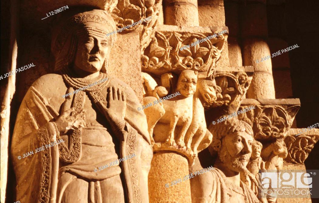 Stock Photo: Portico. Church of San Vicente. Avila. Castilla y Leon. Spain.
