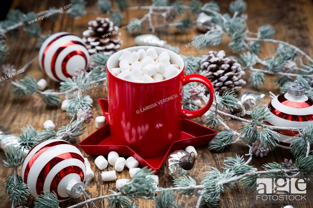 Stock Photo: Cup of Hot Chocolate with marshmellows and Christmas decoration.