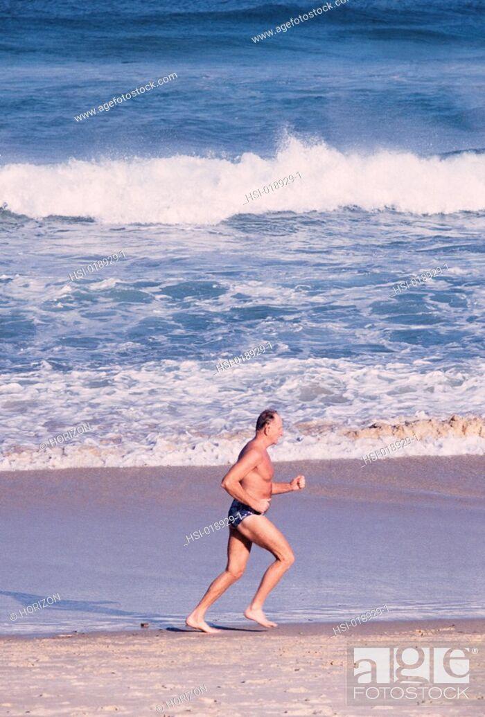 Stock Photo: Lifestyle, Senior, Older man, Swimwear, Beach,.