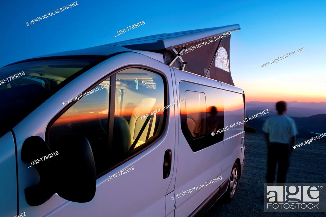 Stock Photo: Camper van at sunset in the Biosphere Reserve of Sierra de Béjar and Francia  Candelario  Salamanca  Castilla y León  Spain.