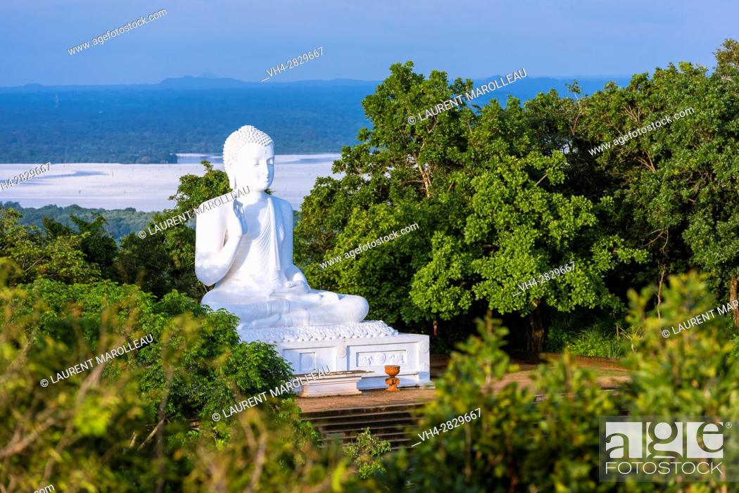 Stock Photo: Giant Seated Buddha at Mihintale Monastery, Anuradhapura District, North Central Province, Sri Lanka, Asia.