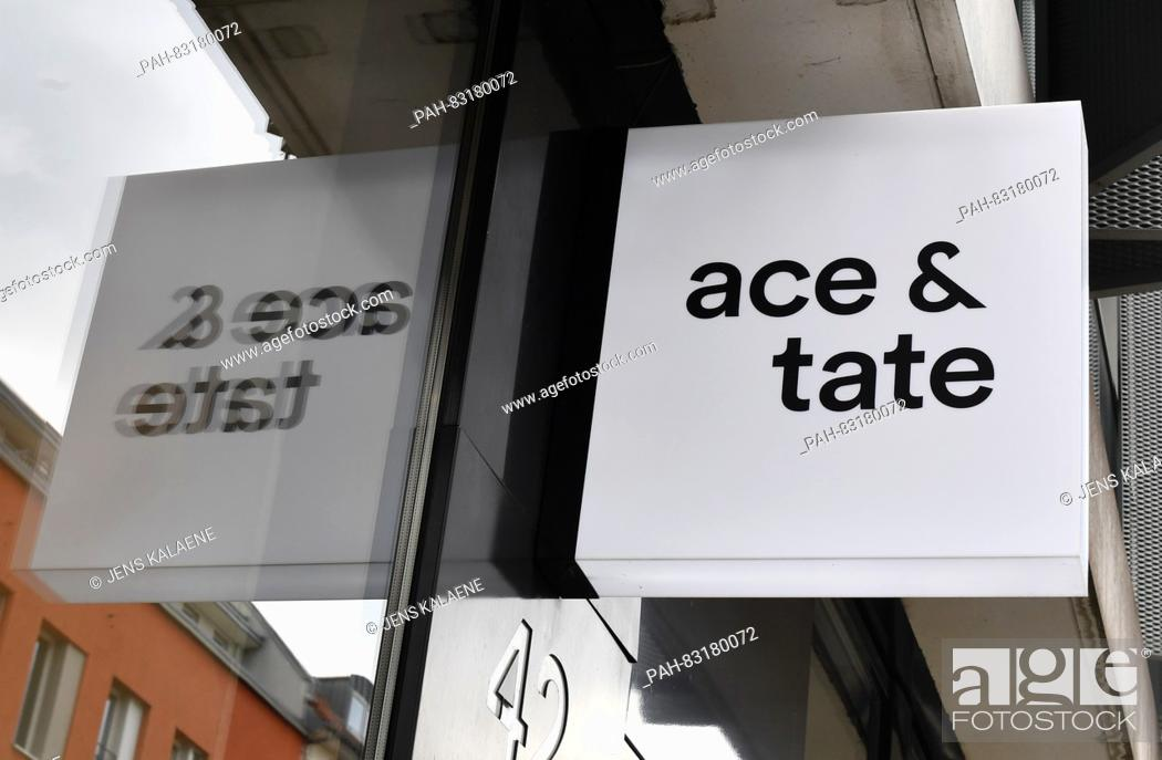 The logo of the Dutch glasses brand 'Ace and Tate' at the