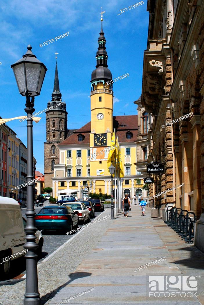 Stock Photo: Town hall tower in the Old Town of Bautzen in the Saxon Upper Lusatia - Germany.