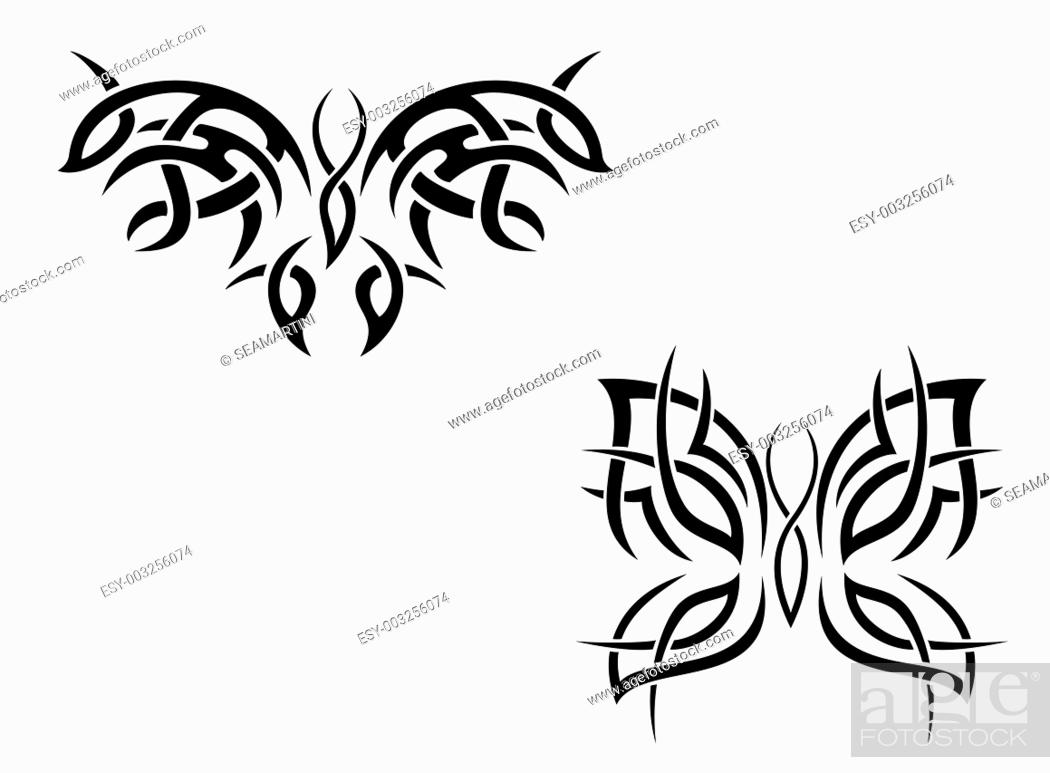 Stock Photo: Isolated butterfly tattoos in tribal style on white background.