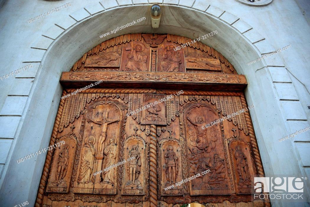 Stock Photo: Portal of the monastery Cocos, near Tulcea, Dobrogea, Romania.