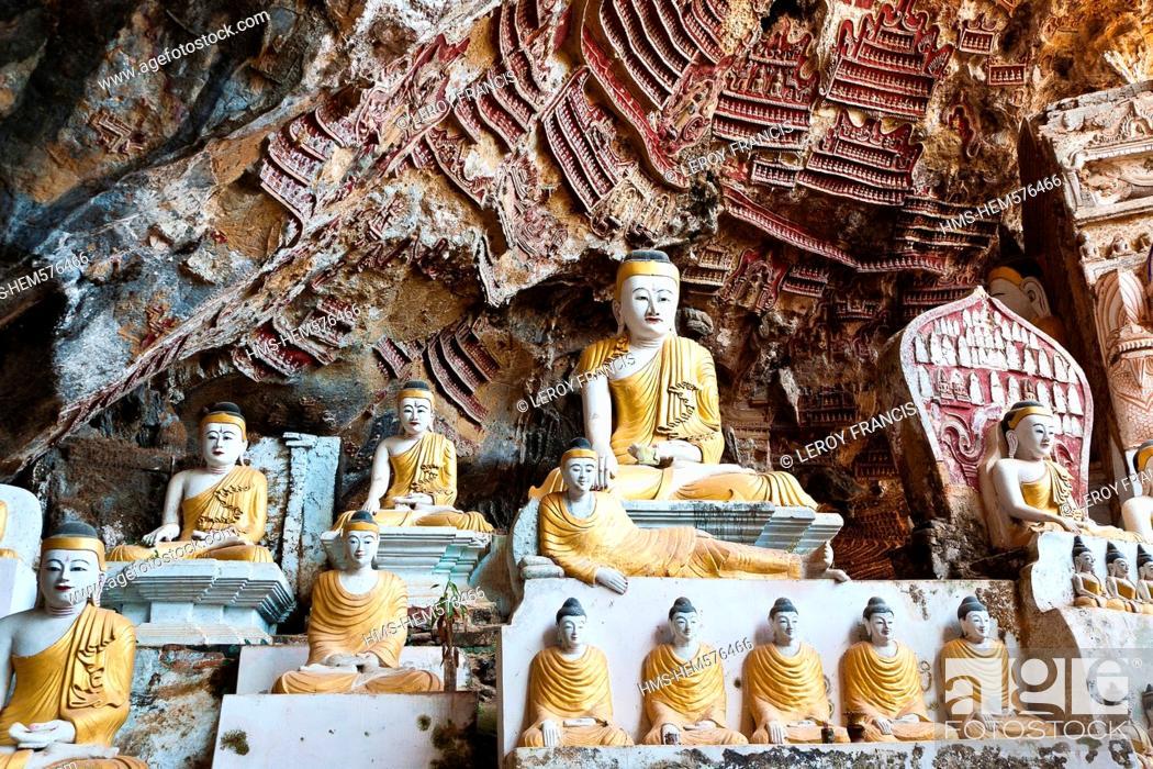 Stock Photo: Myanmar Burma, Karen state, Hpa An, buddhas carving in Sadaing cave.