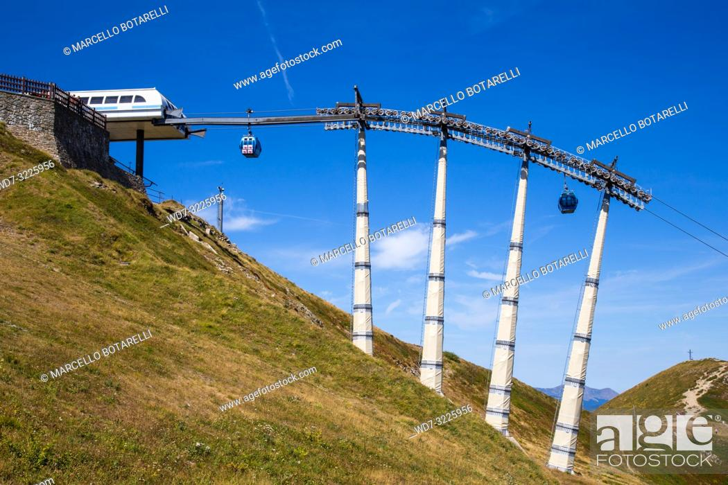 Stock Photo: cableway in the mountains of Abetone, Gomito mountain, Pistoia, Tuscany, Italy, in summer.