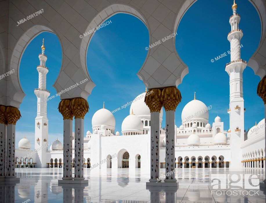 Stock Photo: Sheikh Zayed Grand Mosque, Abu Dhabi.