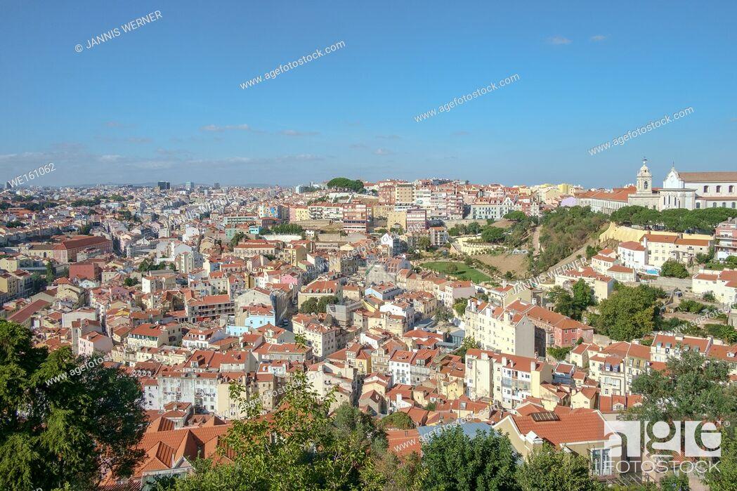 Stock Photo: View from the Castelo de Sao Jorge over Lisbon, Portugal.