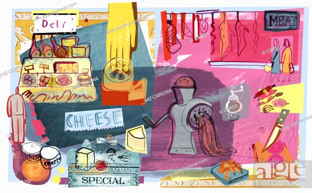 Stock Photo: Collage of deli meats and cheeses.