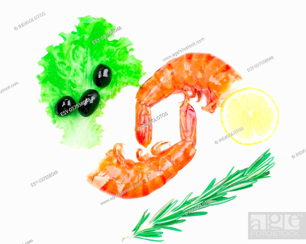 Stock Photo: Shrimps close up. Isolated on a white background.