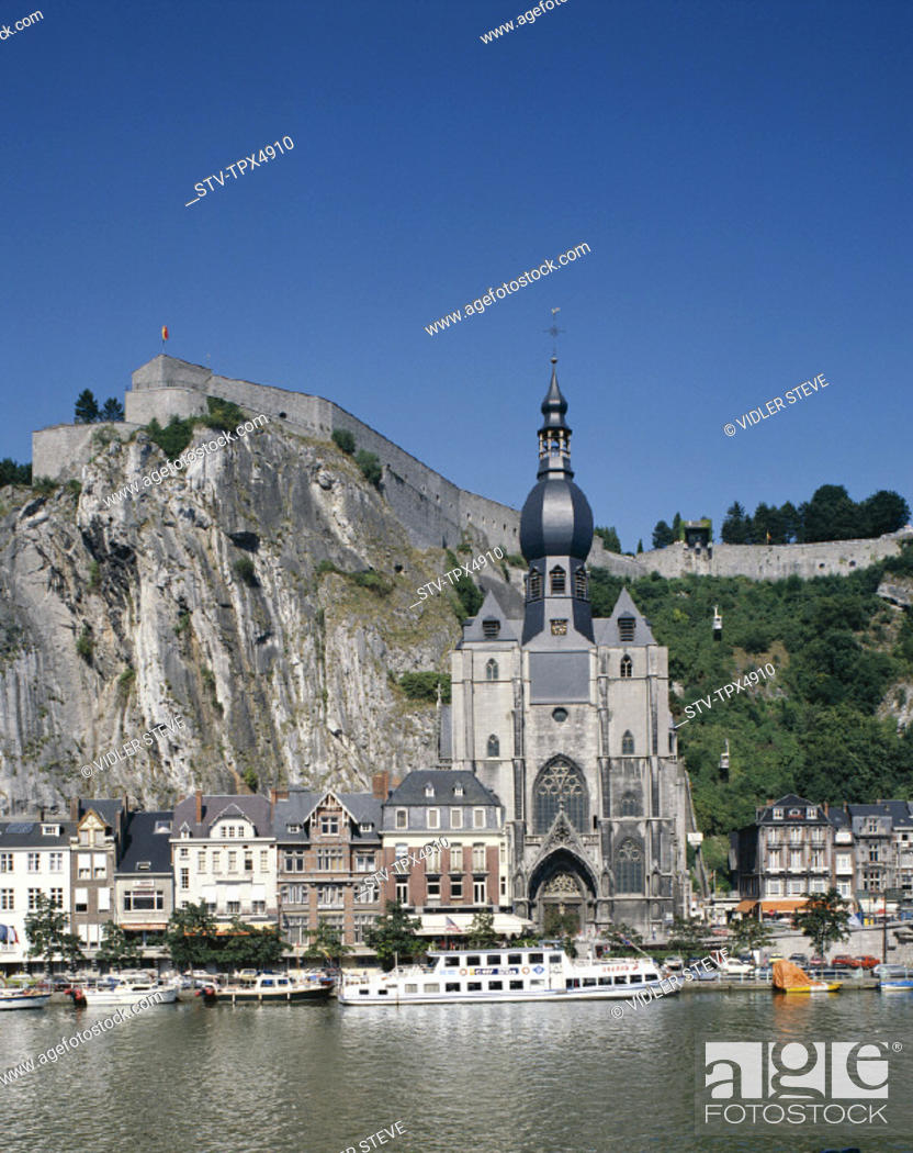 Stock Photo: Ardennes, Belgium, Europe, Citadel, Dinant, Holiday, Landmark, Meuse, Notre dame cathedral, River, Tourism, Travel, Vacation,.