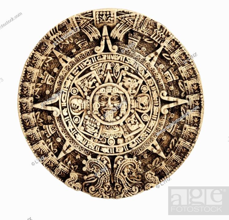 Stock Photo: World symbols: Aztec calendar South America.