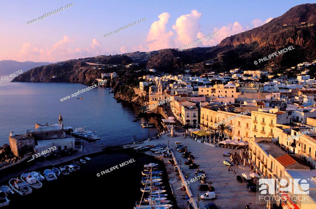 Stock Photo: Lipari city at Lipari Island. Eolie Island. Sicily. Italy.