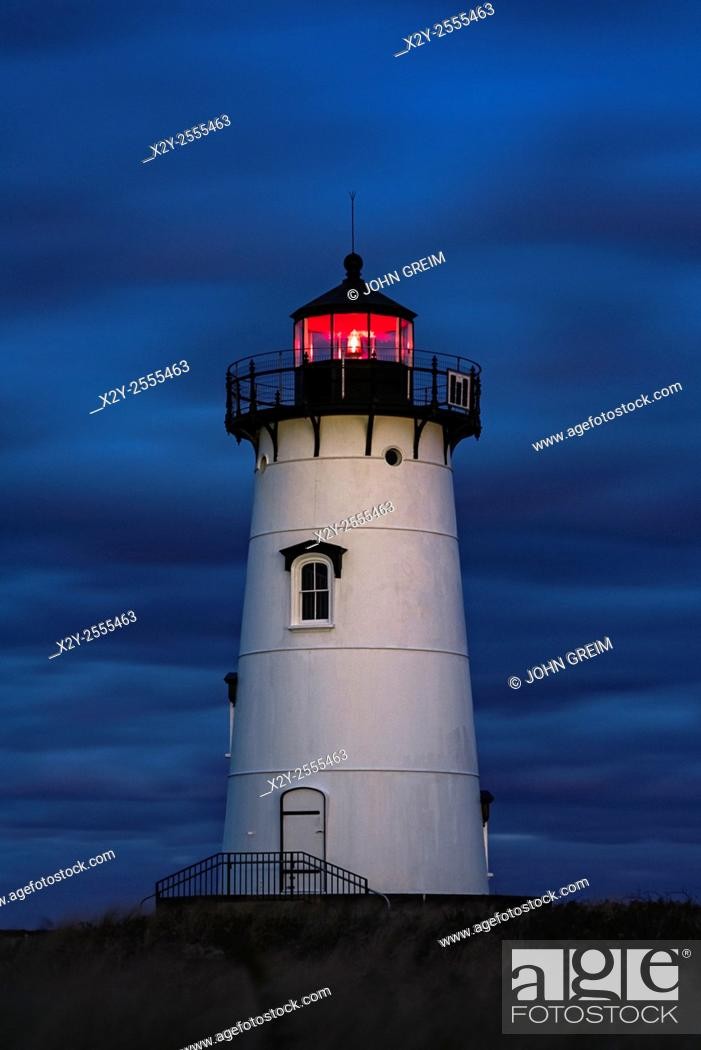 Stock Photo: Edgartown Lighthouse at night, Martha's Vineyard, Massachusetts, USA.