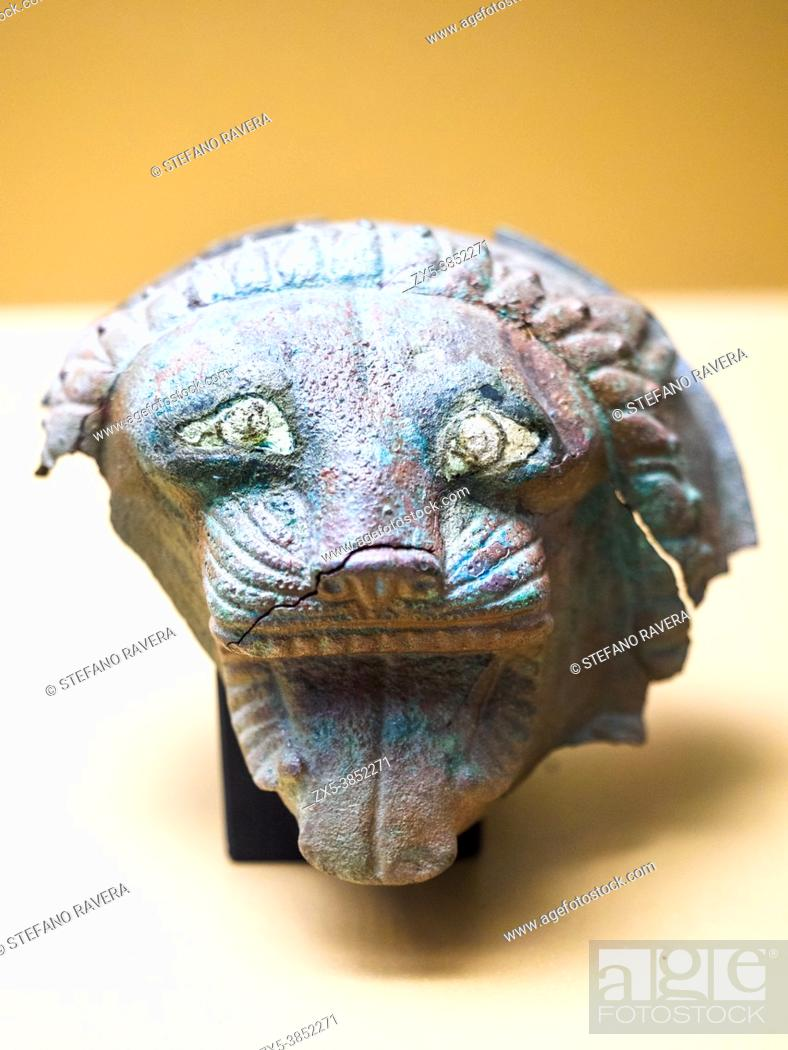 Stock Photo: Small bronze lacunars depicting a roaring lion (late 6th - early 5th cent BC) - Tarquinia National Archaeological Museum, Italy.