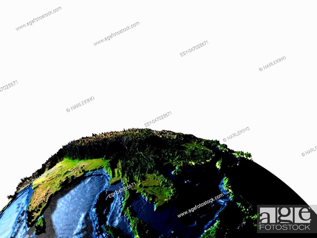 Earth with exaggerated surface features