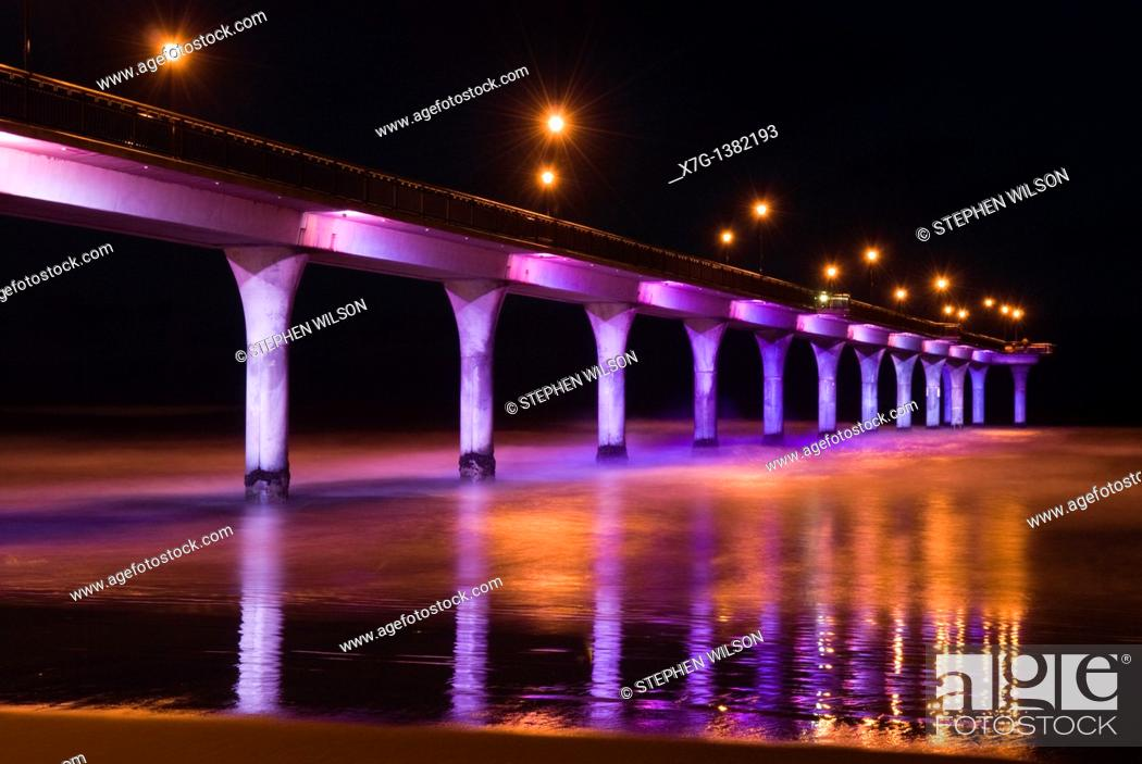 Stock Photo: Christchurch Pier with new in 2007 lights.