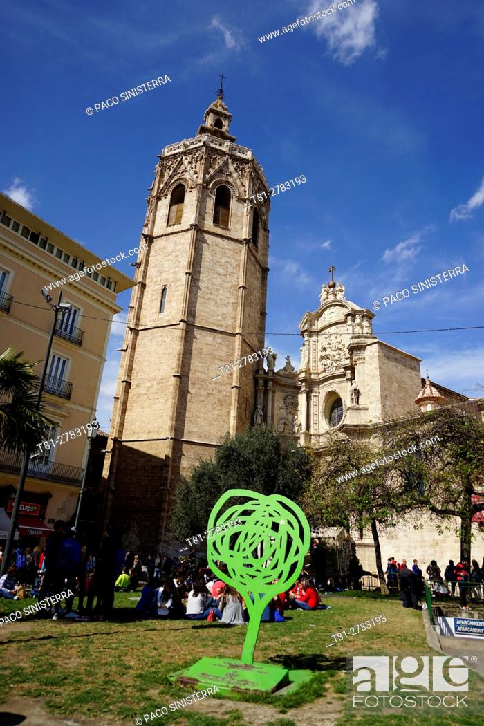 Stock Photo: Miguelete, bell tower of the cathedral, Valencia, Spain.
