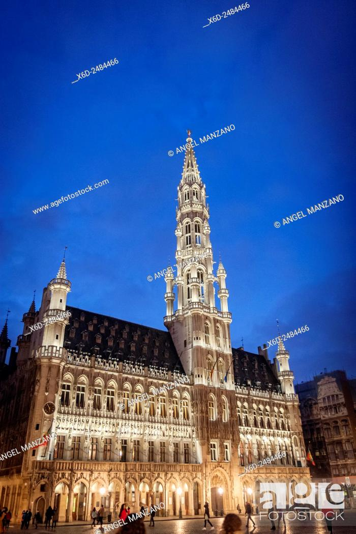 Stock Photo: Town Hall on the famous Grande Place in the City Centre of Brussels, Belgium.