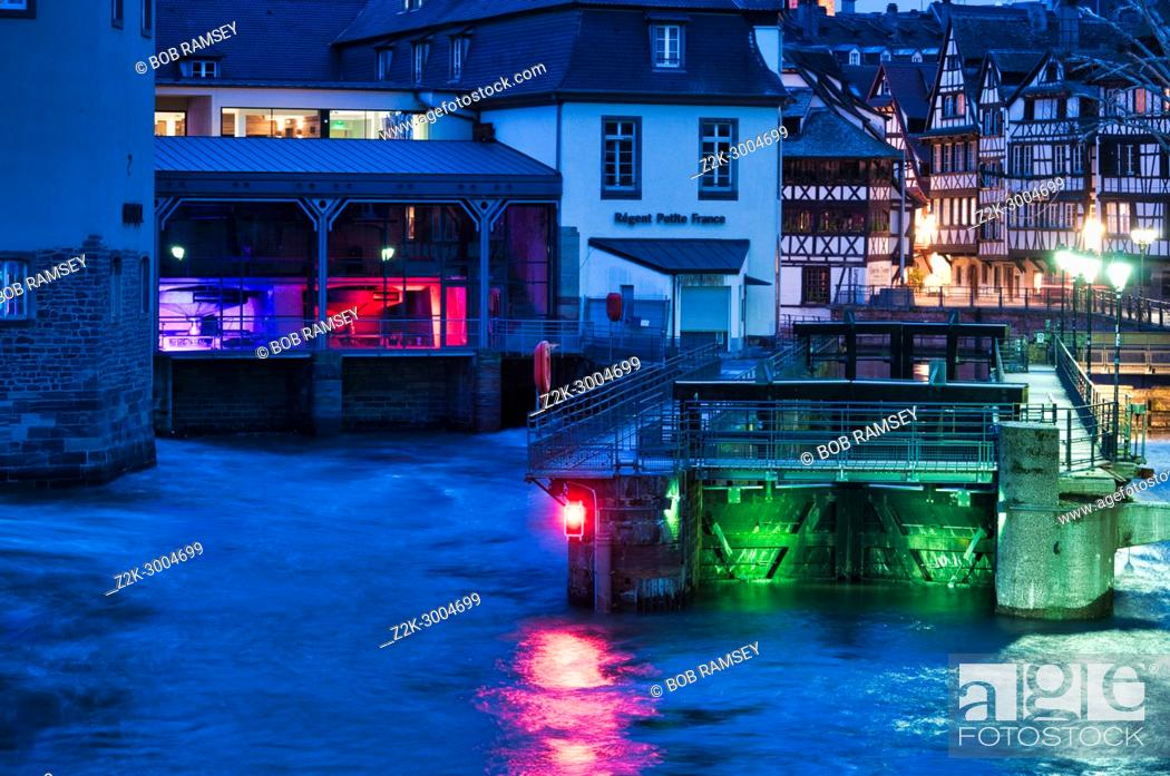Stock Photo: The Ill river and the ' Petite France' old medieval district in Strasbourg city in France.