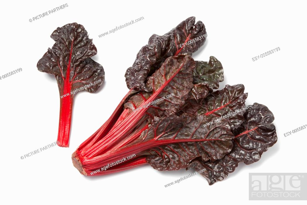 Photo de stock: Fresh red chard on white background.