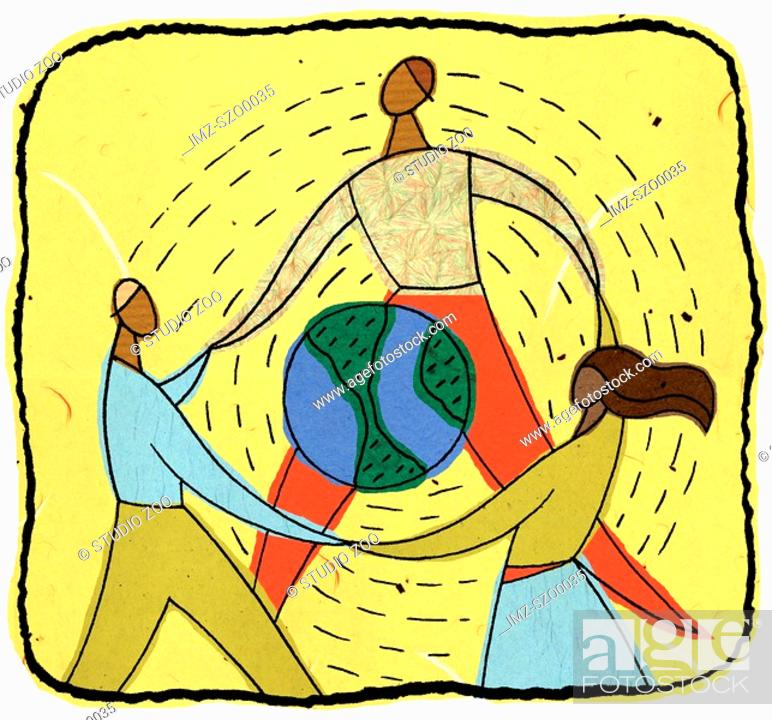 Stock Photo: people holding hands around a globe.