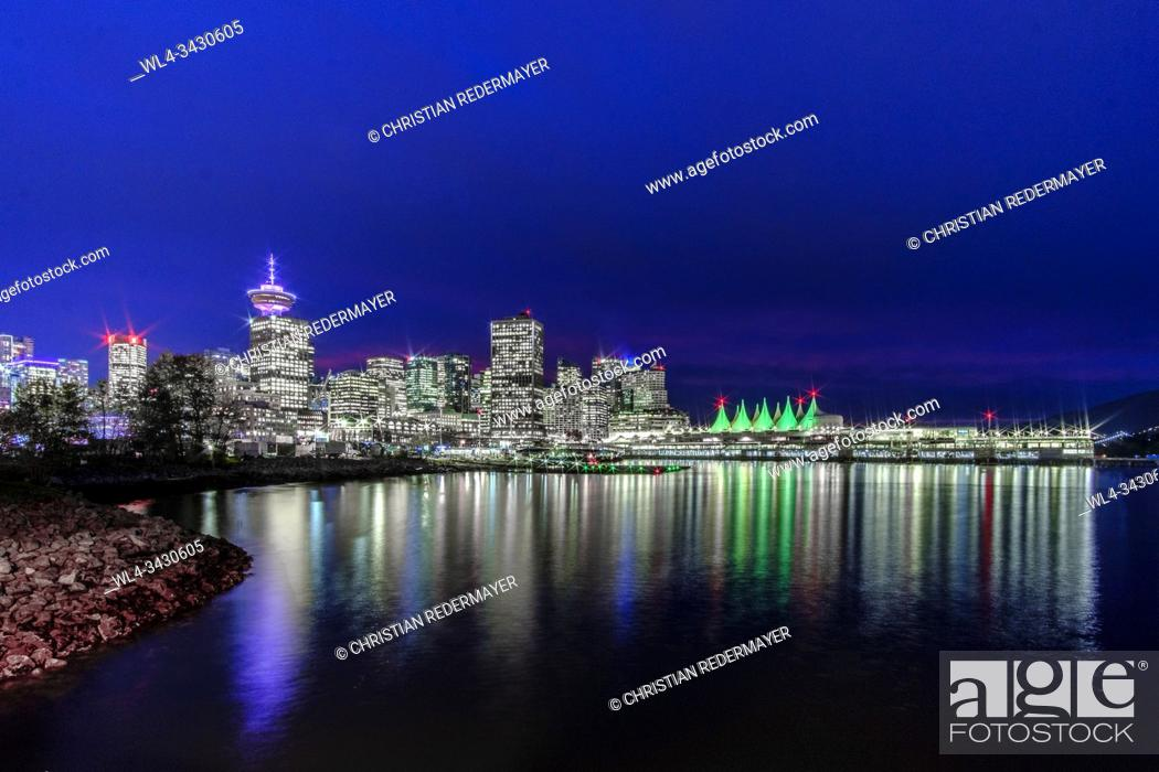 Stock Photo: Beautiful Vancouver with view to the Conventions Center during the blue hour.