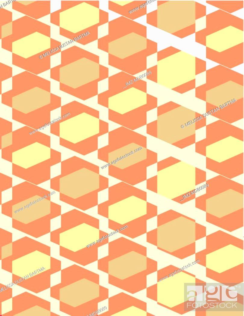Stock Photo: Muted green and yellow geometric pattern illustration.