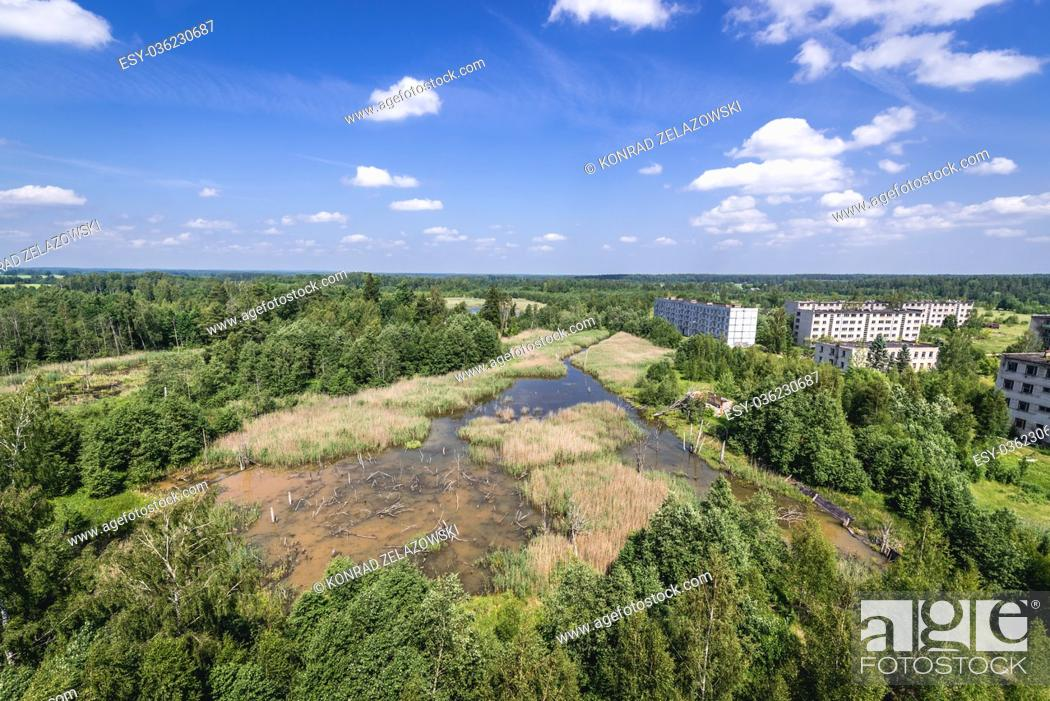 Aerial view from water tower on Skrunda-1 ghost town, former site of