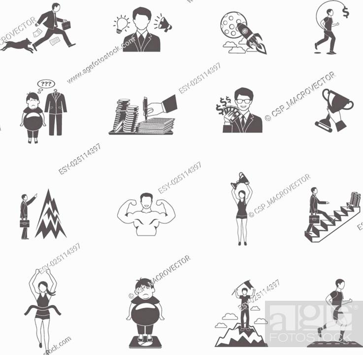Stock Vector: Motivation Icons Set.
