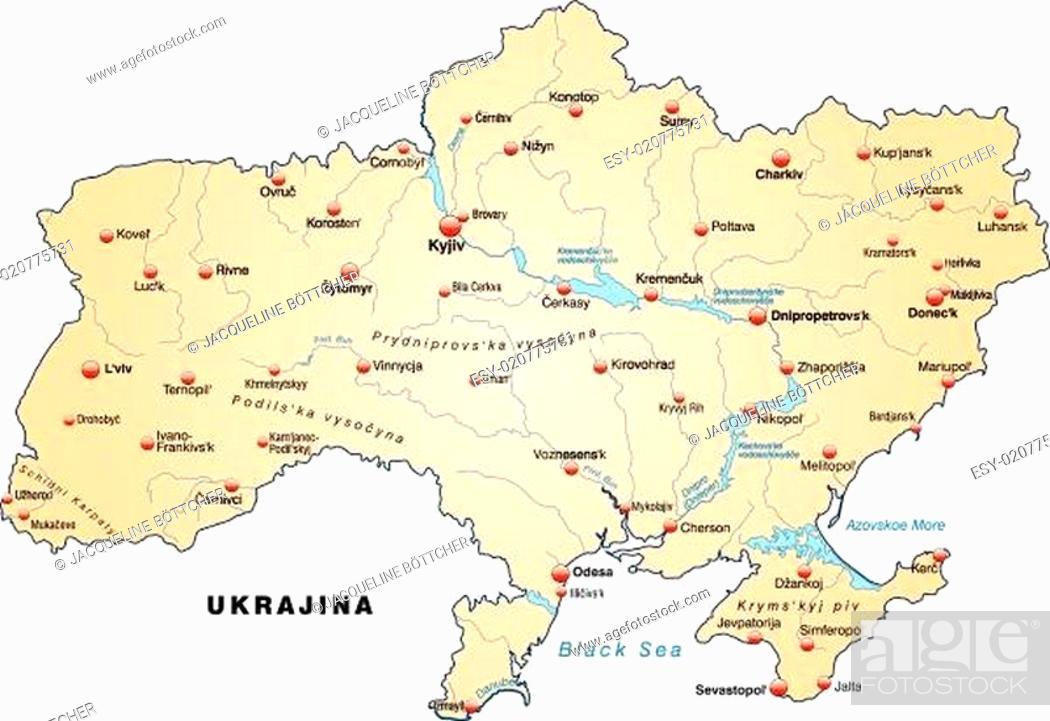 Karte Von Ukraine Als Ubersichtskarte In Pastellorange Stock