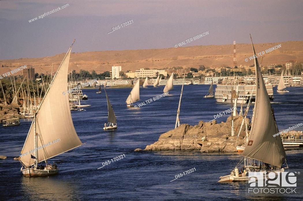 Stock Photo: Feluccas on the Nile. Aswan. Egypt.